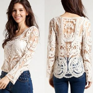 Embroidered Lace Beach Cover Up Crochet Top Blouse